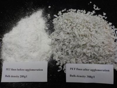 Abb. 6: PET Staub vor und nach der Kompaktierung mit dem Herbold Plastkompaktor