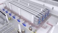 3D Visualisierung: Zukünftiges Shuttle-Lager in Maulburg der Endress+Hauser Level+Pressure. Copyright: io-consultants.