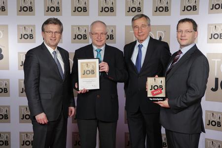 (v.l.): Bürgermeister Gemeinde Stockheim Rainer Detsch, GSD Geschäftsführer Hans Rebhan, TOP JOB-Mentor Wolfgang Clement, GSD Geschäftsführer André Stamm