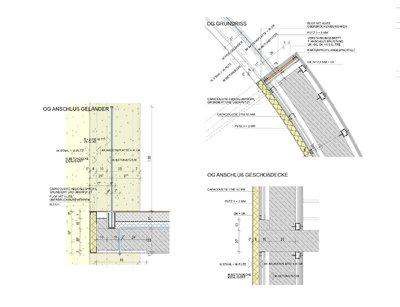 Die Detailzeichnungen zeigen den Aufbau und die Anschlussgestaltung bei den Stahlbindern, der Betondecke und der Geländer