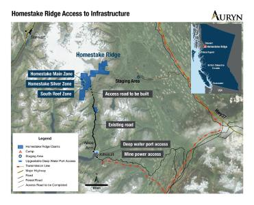 Figure 1: Illustrates the general location and access to infrastructure at the Homestake Ridge project