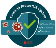 Zertifikat:  •	Covid19-Siegel_600x600px-2020.png Alt-Tag: Corona Virus (Covid 19) Test Management Software - Website Widget Title Tag: ProtectUS: Software Mitarbeitertests Covid 19 -Website Widget
