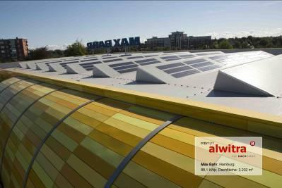 Fig. 2: MAX BAHR DIY store, Hamburg: Here, the world's first electricity generating roofing sheet EVALON Solar provides 88.1 kWp (Kilowatt Peak [peak power])