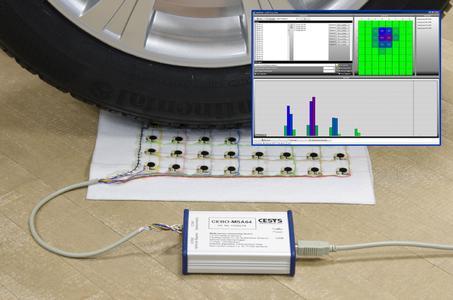 Prototyp einer 8x8 Sensormatrix mit Darstellung der Druckverteilung in CEBOMSALab