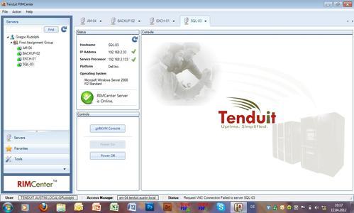 Das RIMCenter gestattet direkten Software-Zugriff auf Server und Reboots sowie echte Neustarts aus der Ferne.