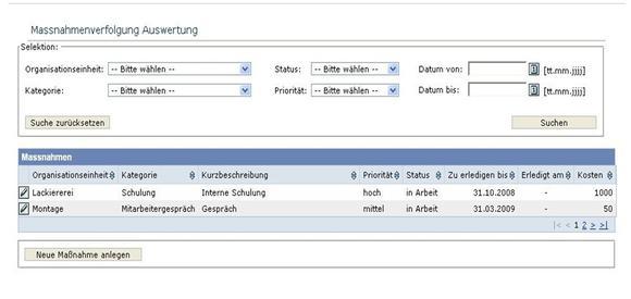 Sreenshot Information Factory Maßnahmen-Tracking