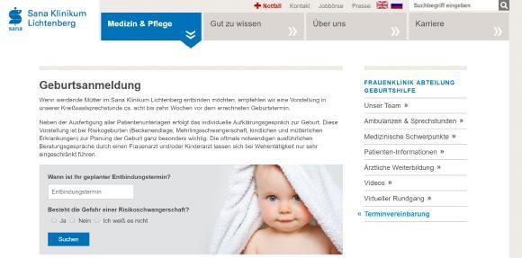 Das Sana Klinikum Lichtenberg bietet Schwangeren ab sofort den Service einer Online-Geburtsanmeldung. Copyright: Sana Lichtenberg