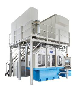 Die WF-Maschine NAM 600 S ist eine konsequente Weiterent-wicklung der seit langem auf dem Weltmarkt etablierten WF-Maschine NAM 600. Unter Nut-zung aller Vorteile des von WF patentierten Verfahrens zum Drücken/Anformen von Naben, ist es aufgrund der höheren Antriebsleistung und Umform-kräfte der Maschine möglich, Naben mit großer Wanddicke und Länge herzustellen (Bild: WF Maschinenbau)