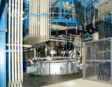 One of the submerged arc furnaces at CBMM, the SMS group supplied in 1999