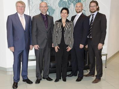 v.l.n.r.: Günther Paul, Dr. Lars Mechold, Ursula Mader, Felix Paul, Patrick Paul