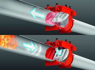 Die Rückschlagklappe ProFlap verhindert das Durchschlagen der Flammen in die Rohrleitungen und damit mögliche Folgeexplosionen