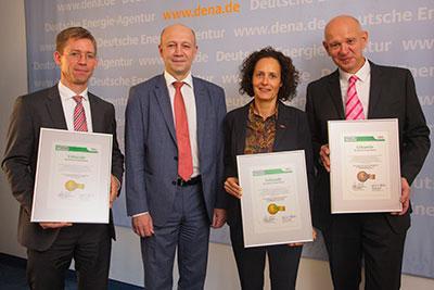 (v.l.) C. Hein (Aurubis), A. Kuhlmann (dena), B. Meimeth (KNIPEX), M. Schwarz (arvato Systems)