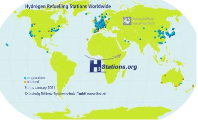 Record number of newly opened hydrogen refuelling stations in 2020