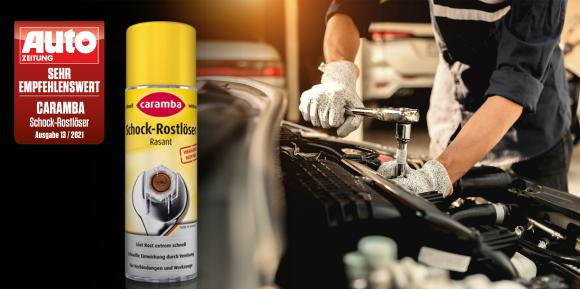 Der Schock-Rostlöser von Caramba mit Vier-fach-Wirkung löst nicht nur Rost, sondern beseitigt auch Schmutzkrusten, Ölrückstände, Verharzungen und Klebstoffreste von Metallteilen / Urheber: Caramba