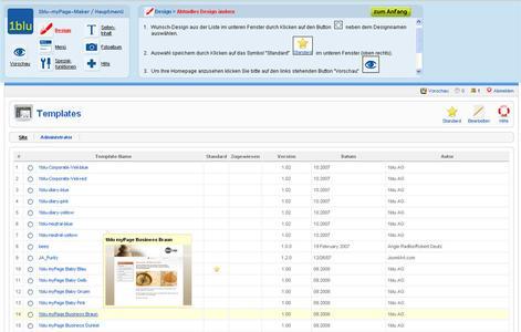 1blu-myPage - Verwaltungsbereich (Backend)