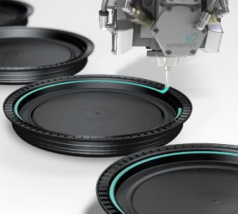 Fully automated, precise insertion of the FDA-compliant FERMAPOR® K31 PU foam seal into the groove of plastic drum lids with a Sonderhoff mixing and dosing system