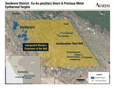 Abbildung 1: Darstellung der Position des regionalen Sombrero-Landpakets von Auryn in Bezug auf den Andahuaylas-Yauri-Gürtel, der die Lagerstätten Los Bambas, Las Chancas, Tintaya und Antapaccay beherbergt. Das technische Team von Auryn ist der Auffassung, dass sich dieser Gürtel unterhalb einer partiellen vulkanischen Schicht in Richtung Westen erstreckt und das Potenzial aufweist, sowohl Kupfer-Gold-Skarn- als auch Porphyre und epithermale Edelmetalllagerstätten zu beherbergen