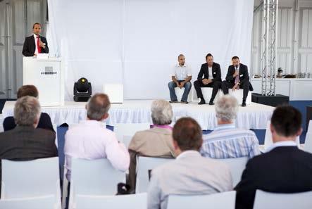 Standen während der Losberger Palas Kick-Off-Veranstaltung in Fürfeld Rede und Antwort: v. l. n. r. Klaus Martin Stegmann (Marketing), Giovanni DeSerra (Technik), Ingo Werner (Projektleitung) und Uwe Braun (Geschäftsführung).
