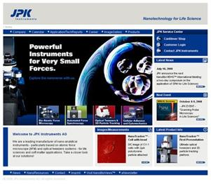 "JPK's new homepage ""nanotechnology for life sciences"""