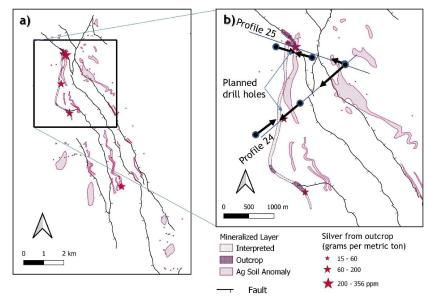 Figure 1. Plan view of the northwestern part of Tiria-Shimpia showing the location of the profiles in shown in Figure 2 and the extent of silver enrichment in soil that suggests that the silver-bearing horizon could extend over 3km