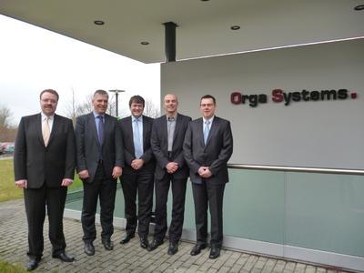 Stefan Lage (acceptIT GmbH), Johannes Nussbickel (Orga Systems GmbH), Jürgen Gaubatz (Orga Systems GmbH), Dirk Schmidtpott (Orga Systems GmbH), Torsten Claus (acceptIT GmbH)