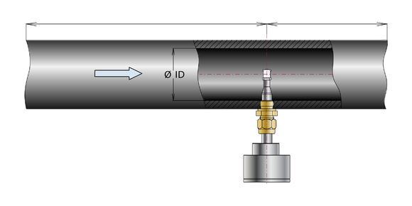 Wegen des unterschiedlichen Strömungsprofils in einem Rohr, muss die Sensorspitze bis zur Rohrmitte eingetaucht werden