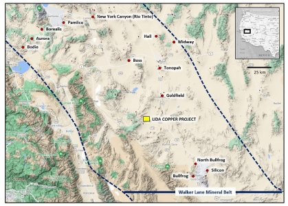 Figure 1: Location map for the Lida copper project in central western Nevada, USA