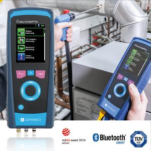 The AFRISO MULTILYZER STe flue gas analyser allows for a great variety of measurements: CO undiluted (air-free), Lambda, CO2, eta efficiency, flue gas loss, dew point and temperature difference. The measuring instrument is approved as per the German Federal Immission Act BImSchV and KÜO and certified according to EN 50379-2 (Photograph: AFRISO)
