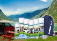 Das WEICON Camping Set mit Produkten zur Reinigung und Pflege.
