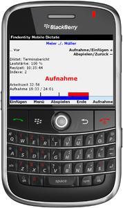 Findentity Mobile Dictate auf dem BlackBerry