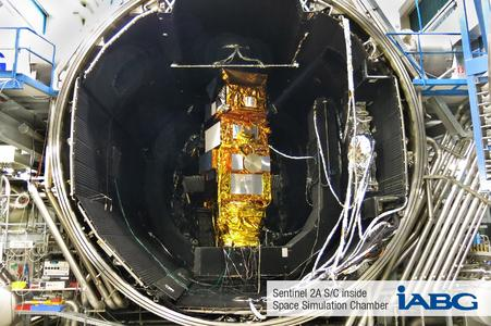 Sentinel 2A SC inside Space Simulation Chamber