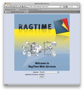 RagTime Web-Services Anmeldefenster