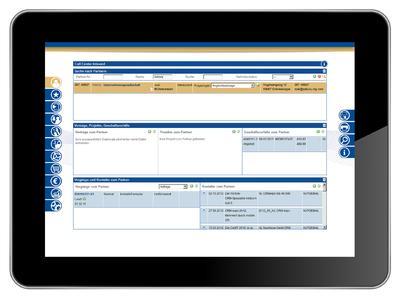 Call-Center Oberfläche auf dem Tablet