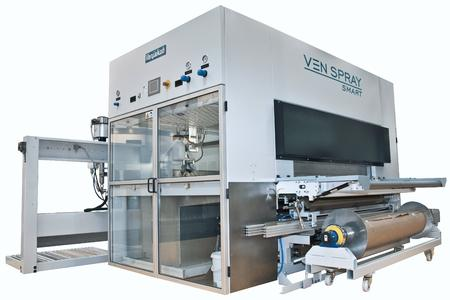 VEN SPRAY SMART coating line with paper belt and web belt transport as well as paint recovery system
