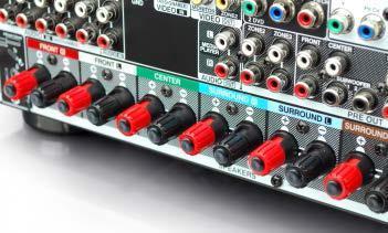 AVR-X4000 Rückansicht mit farbig codierten Lautsprecheranschlüssen