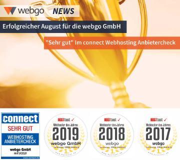 """Webhosting Auszeichnungen webgo GmbH, connect Testurteil """"sehr gut"""", sowie """"sehr hoher Kundennutzen"""" in der Kundenbefragung der BILD."""