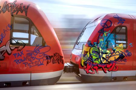 Graffiti-Schmierereien verursachen für Bahnbetreiber hohe Kosten. Die neuen Anti-Graffiti Schutzlaminate glänzend 8588G und matt 8590M ermöglichen eine deutlich einfachere und somit preisgünstigere Entfernung / Foto: 3M