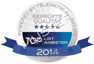Dieses Siegel steht 2014 offiziell für die erfolgreich geprüften Anbieter aus der TOPLIST der Telematik. Bild: Telematik-Markt.de