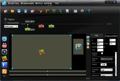 Leistungsstarke Software zum Erstellen der multimedialen Werbeinhalte