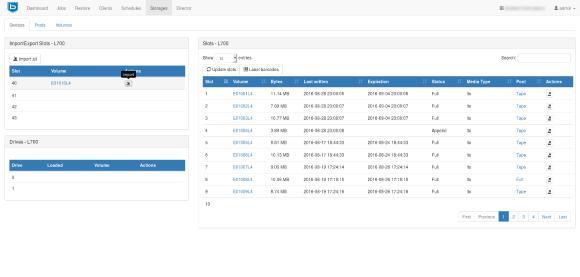 Bareos Web UI mit Autochanger Ansicht