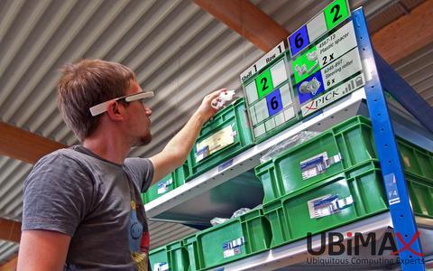 Richtiges Bauteil gefunden? Datenbrillen helfen künftig bei der Suche, indem sie Regalfach und Artikelnummer einblenden. (Quelle: Ubimax GmbH)