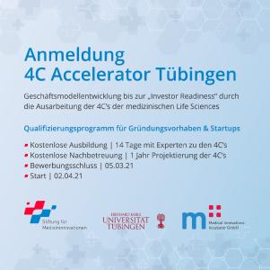 """Register now for the free """"4C Accelerator Tübingen"""" of the Stiftung für Medizininnovationen, the Medical Innovations GmbH and the University of Tübingen! This training program is funded by the ministry of economy Baden-Württemberg and oriented to start-ups and those interested in founding one."""