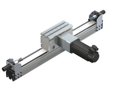 Das Omegamodul von Rexroth eignet sich besonders für Anwendungen rund um das Handling, die Montage und die allgemeine Automatisierung. In den Endlagen kommen von der Roth GmbH & Co. KG projektierte Sicherheitsstoßdämpfer von ACE zum Einsatz / Bildnachweise: ACE Stoßdämpfer GmbH / Roth GmbH & Co. KG und Bosch Rexroth AG