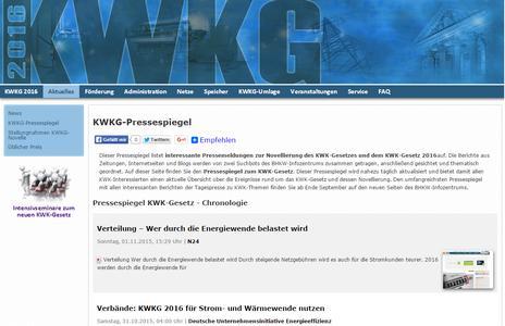 Nahezu täglich aktualisierter Pressespiegel zum KWK-Gesetz 2016 vom BHKW-Infozentrum (Bild: BHKW-Infozentrum / KWKG2016.de)
