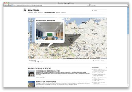 """Website visitors can let themselves be inspired by large-format picture galleries, interactive features such as videos and animations, and the lighting solutions on the """"Map of Light"""". Photo: Zumtobel"""