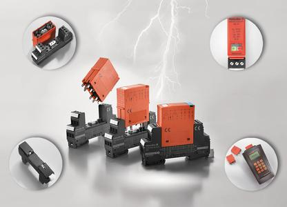 Weidmüller surge protection VARITECTOR SPC: This product family has a compact design of 17.8 mm and combines the following three features: protection, indication and remote signalling