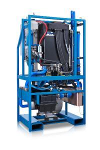 Innenansicht eines containerbasierten Wasserstoff-Brennstoffzellen-Systems von Proton Motor Fuel Cell GmbH