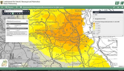 Neue Stickstoffkarte in UDO: Ammoniak-Hintergrund-konzentration im Jahr 2009. Die Karte zeigt die modellierte Ammoniakkonzentration in Baden-Württemberg in der Luft (Jahresmittel in Mikrogramm pro Kubikmeter). Anwendungsbereich der Ammoniakkonzentration ist die Beurteilung der Belastung von Ökosystemen in Baden-Württemberg. Die Ammoniak-Hintergrundkonzentration ist erhöht in den Kreisen mit hohem Viehbesatz und steht in engem Zusammenhang mit dem Stickstoff-Überschuss nach der Hoftorbilanz