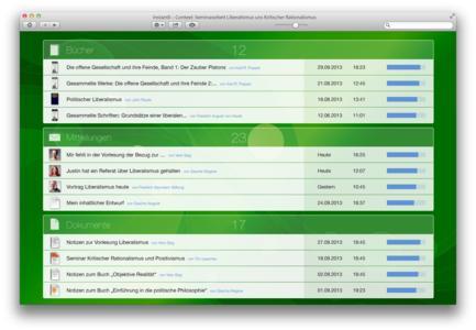 Screenshot für Anwendung im Studium