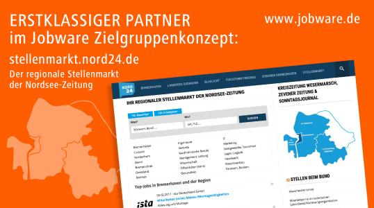 Jobware und Nordsee-Zeitung kooperieren im Stellenmarkt.